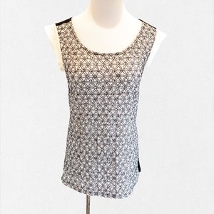 Ann Taylor Black & White Embroidered Top - XS